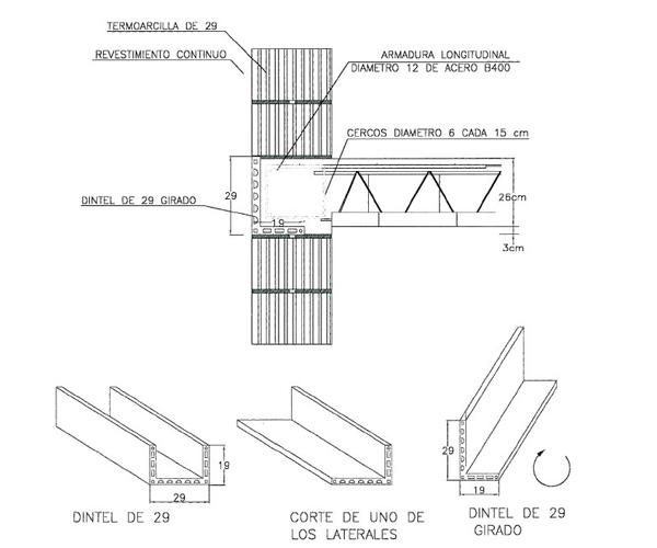Resolución del frente del forjado con la pieza de dintel girada